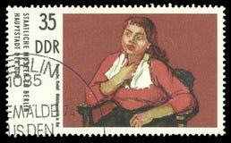 Портрет ` s девушки картины в красном цвете Rudolf Borgartler Стоковая Фотография RF