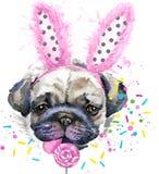 портрет s собаки Графики футболки собаки иллюстрация вектора