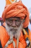 Портрет Sadhu или святой человек во время sohala palkhi Dnyaneshwar Maharaj, Пуны Стоковые Фото