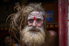 Портрет sadhu Shaiva, святого человека в виске Pashupatinath, Катманду Непал Стоковая Фотография