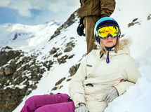 Портрет snowboarder в курорте зимы Стоковое Изображение RF
