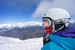 Портрет snowboarder женщины Стоковое Изображение