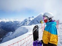 Портрет snowboarder женщины Стоковое Изображение RF
