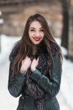 Портрет Snowtime красивой девушки брюнет Стоковое Изображение