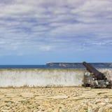 Португальская крепость Sagres на пляже Атлантического океана стоковое фото