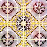 Португальские ретро застекленные плитки с геометрической картиной, Handmade Azulejos, искусством улицы Португалии, абстрактной пр стоковые изображения rf
