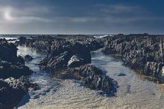 Португальский пляж в свете луны Стоковые Фото