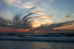 Португалия Океан на заходе солнца Стоковое Фото