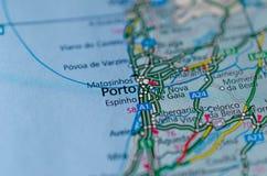 Порту на карте Стоковое Изображение RF