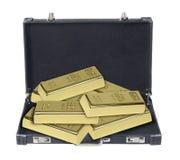 Портфель вполне золота в слитках Стоковые Фотографии RF