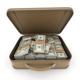 Портфель с сериями наличных денег, доллара Стоковое Фото