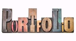 Портфолио - конспект слова в деревянном типе стоковые изображения rf
