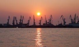порт вечера груза стоковые фотографии rf