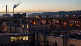Порт Гдыни на заходе солнца Стоковые Фото