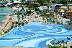 Порт города и пристани Паттайя и парковать на пристани hai Бали стоковое изображение rf