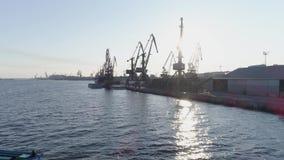 Порт груза взгляда трутня промышленный с контейнером вытягивает шею в backlight на море сток-видео