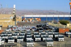 Порт груза и новые автомобили для продажи, Eilat, Израиль Стоковая Фотография