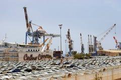 Порт груза и новые автомобили для продажи, Eilat, Израиль Стоковые Фотографии RF