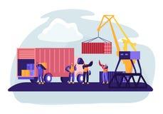 Порт доставки с контейнерами загрузки крана гавани к морской шлюпке перевозки Работники морского порта носят коробки от тележки в иллюстрация штока