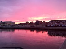 Порт захода солнца skagen стоковое фото