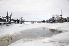 Порт зимы реки залива Волги шлюпок Стоковые Изображения RF