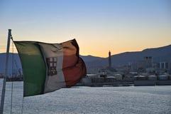 порт итальянки genova флага Стоковая Фотография