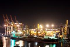 Порт и корабль ночи Стоковая Фотография RF