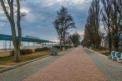 Порт и пляж в Feodosiya стоковое изображение