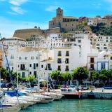 Порт и старый городок городка Ibiza, в Ibiza, Балеарские острова, спа стоковое изображение rf