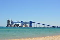 Порт и транспортер лесов в океане Стоковое Изображение
