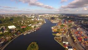 Порт Калининграда, взгляд сверху акции видеоматериалы