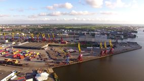 Порт Калининграда, взгляд сверху сток-видео