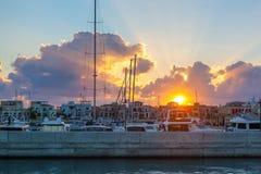 Порт Лимасола старый на заходе солнца Кипр Стоковое Изображение RF