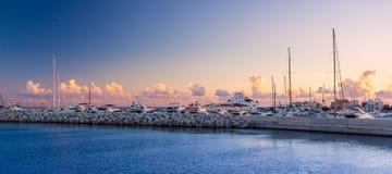 Порт Лимасола старый на заходе солнца Кипр Стоковые Фото