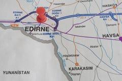 Порт назначения на карте страны индюка стоковая фотография rf