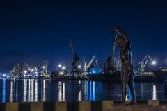 Порт ночи Klaipeda Стоковое Изображение