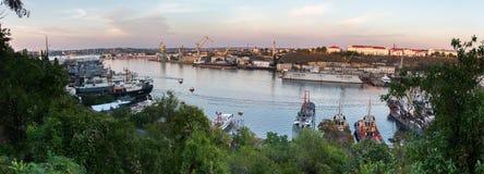 Порт панорамы Севастополя стоковое изображение rf