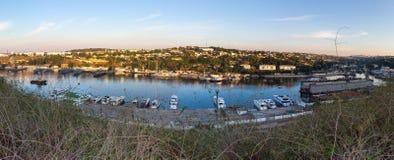 Порт панорамы Севастополя стоковые фото