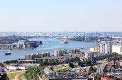 Порт Роттердама увиденный от Euromast, Голландии Стоковая Фотография RF