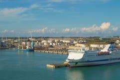 Порт столицы Civitavecchia-the Рима, важный порт груза для морского транспорта в Италии, 7-ое октября 2018 стоковые изображения rf