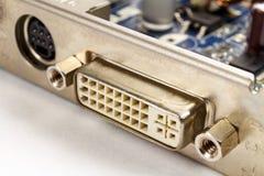 Порт цифров DVI для того чтобы соединить монитор LCD к крупному плану видеокарты Стоковая Фотография RF