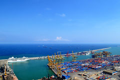 порт barcelona промышленный Стоковое фото RF