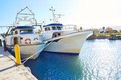 Порт fisherboats Cullera в реке Xuquer Jucar Стоковые Изображения RF