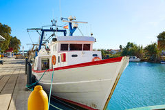 Порт fisherboats Cullera в реке Xuquer Jucar Стоковые Изображения