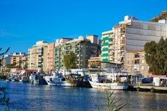 Порт fisherboats Cullera в реке Xuquer Jucar Стоковое Фото