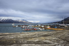 Порт Longyearbyen, Шпицберген, Свальбард Стоковая Фотография RF