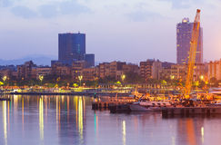 Порт Vell во время рассвета Барселона Стоковое Фото