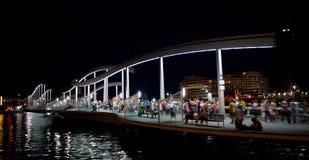 Порт Vell и Rambla Del Mar Марины в Барселоне Стоковая Фотография