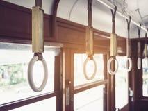 Поручни на транспорте стиля года сбора винограда трамвая стоковые изображения rf
