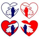 Порция руки в иллюстрации вектора сердца установленной Стоковое Изображение RF